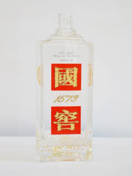 晶白玻璃烤花酒瓶